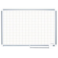 MasterVision MA0592830A 48 inch x 36 inch White Grid Dry Erase Planning Board with Accessories - 1 inch x 2 inch Grid