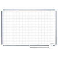MasterVision MA0592830 48 inch x 36 inch White Grid Dry Erase Planning Board - 1 inch x 2 inch Grid