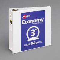 Avery 05741 White Economy View Binder with 3 inch Round Rings