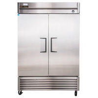 "True TS-49 55"" Stainless Steel Two Section Solid Door Reach-In Refrigerator"