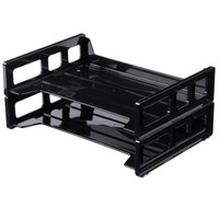 Universal UNV08100 13 inch x 9 inch x 2 3/4 inch Black Side Load Stackable Plastic Desk Tray, Letter - 2/Pack