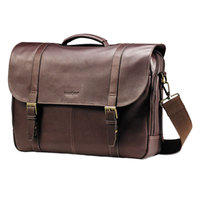 Samsonite 457981139 16 inch x 13 inch x 6 inch Brown Leather Top Loader Flapover Double Gusset Laptop Case / Business Case