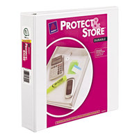 Avery 23001 White Protect and Store Durable View Binder with 1 1/2 inch Slant Rings