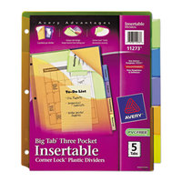 Avery 11273 Big Tab 3-Pocket 5-Tab Multi-Color Plastic Insertable Tab Dividers