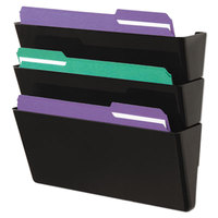 Universal UNV08121 Black Plastic Three Pocket Recycled Wall File, Letter