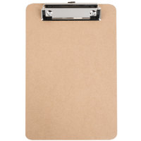 Universal UNV05561 1/2 inch Capacity 8 inch x 5 inch Brown Low-Profile Clip Hardboard Clipboard - 6/Pack