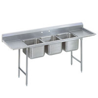 Advance Tabco 9-23-60-24RL Super Saver Three Compartment Pot Sink with Two Drainboards - 115 inch