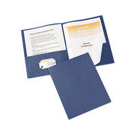 Avery 47975 11 inch x 8 1/2 inch Dark Blue Two Pocket Paper Folder with Prong Fasteners, Letter - 25/Box
