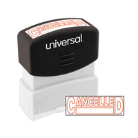 Universal UNV10045 1 11/16 inch x 9/16 inch Red Pre-Inked Cancelled Message Stamp