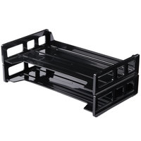 Universal UNV08101 16 1/4 inch x 9 inch x 2 3/4 inch Black Side Load Stackable Plastic Desk Tray, Legal   - 2/Pack