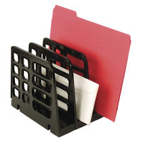Universal UNV08113 8 inch x 8 inch x 7 1/4 inch Black 3 Section Plastic Desktop Sorter