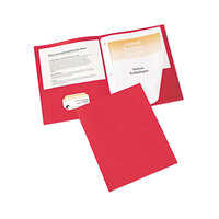 Avery 47979 11 inch x 8 1/2 inch Red Two Pocket Paper Folder with Prong Fasteners, Letter - 25/Box