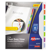 Avery 16741 8-Tab Clear Easy View Durable Plastic Dividers