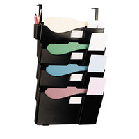 Universal UNV08138 Black Plastic 4 Pocket Partition Mounted Grande Central Filing System