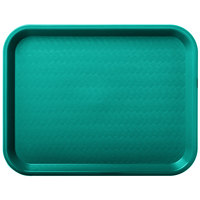 Carlisle CT101415 Customizable Cafe 10 inch x 14 inch Teal Standard Plastic Fast Food Tray - 24/Case