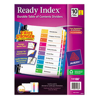 Avery 11188 Ready Index 10-Tab Multi-Color Table of Contents Divider Set - 6/Pack