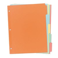 Avery 11508 Write-On 5-Tab Multi-Color Paper Divider Set - 36/Box