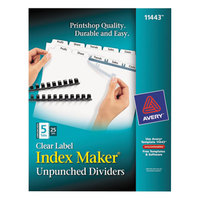 Avery 11443 Index Maker Unpunched 5-Tab Divider Set with Clear Label Strip - 25/Box