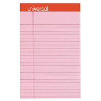 Universal UNV35894 5 inch x 8 inch Legal Rule Pink Perforated Note Pad - 6/Pack