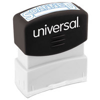 Universal UNV10157 1 11/16 inch x 9/16 inch Blue Pre-Inked Scanned Message Stamp