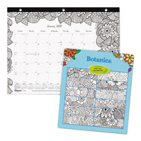 Blueline C2917211 DoodlePlan 11 inch x 8 1/2 inch Botanical Monthly January 2019 - December 2019 Desk Pad Calendar with Coloring Pages
