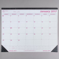 Rediform C1731 Brownline 22 inch x 17 inch White / Burgundy Monthly January 2018 - December 2018 Desk Pad Calendar