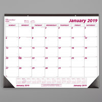 Rediform C1731 Brownline 22 inch x 17 inch White / Burgundy Monthly January 2019 - December 2019 Desk Pad Calendar