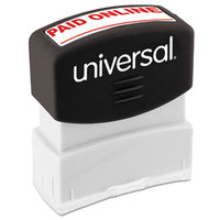 Universal UNV10156 1 11/16 inch x 9/16 inch Red Pre-Inked Paid Online Message Stamp