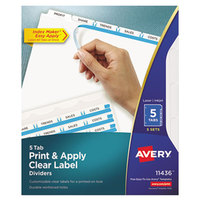 Avery 11436 Index Maker 5-Tab White Divider Set with Clear Label Strip - 5/Pack