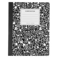 Universal UNV20936 9 3/4 inch x 7 1/2 inch Black Wide Ruled Composition Notebook, 100 Sheets - 6/Pack