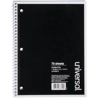 Universal UNV66610 10 1/2 inch x 8 inch Black 1 Subject College Ruled Wirebound Notebook - 70 Sheets