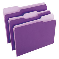 Universal UNV10505 Letter Size File Folder - Standard Height with 1/3 Cut Assorted Tab, Violet - 100/Box