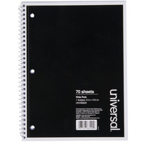 Universal UNV66620 10 1/2 inch x 8 inch Black 1 Subject Wide Ruled Wirebound Notebook - 70 Sheets