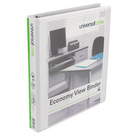 Universal UNV20742PK White Economy View Binder with 1 inch Slant Rings - 4/Pack