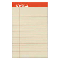 Universal UNV35891 5 inch x 8 inch Legal Rule Ivory Perforated Note Pad - 6/Pack