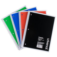 Universal UNV66614 10 1/2 inch x 8 inch Assorted Colors 1 Subject College Ruled Wirebound Notebook, 70 Sheets - 4/Pack