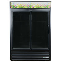 True GDM-47FC-HC-LD 54 inch Black Glass Sliding Door Refrigerated Floral Case
