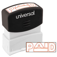 Universal UNV10062 1 11/16 inch x 9/16 inch Red Pre-Inked Paid Message Stamp
