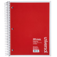 Universal UNV66500 11 inch x 8 1/2 inch 5 Subject College Ruled Wirebound Notebook - 200 Sheets