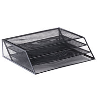 Universal UNV20007 12 5/8 inch x 3 5/8 inch x 11 1/2 inch Black 3 Section Wire Mesh Desk Organizer