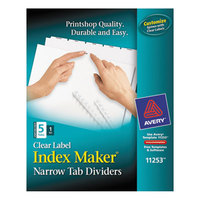 Avery 11253 Index Maker Narrow 5-Tab White Unpunched Divider Set with Clear Label Strip