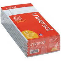 Universal UNV35850 5 inch x 8 inch Narrow Rule Blue Perforated Note Pad - 12/Pack