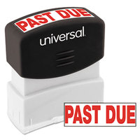 Universal UNV10063 1 11/16 inch x 9/16 inch Red Pre-Inked Past Due Message Stamp