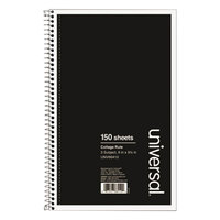 Universal UNV66410 9 1/2 inch x 6 inch Black 3 Subject College Ruled Wirebound Notebook - 120 Sheets