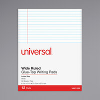 Universal UNV11000 Legal Ruled White Glue Top Writing Pad, Letter   - 12/Pack