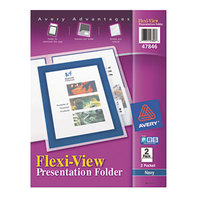 Avery 47846 11 inch x 8 1/2 inch Navy Blue Two Pocket Flexi-View Plastic Folder with Translucent View Window, Letter - 2/Pack