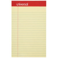 Universal UNV46200 5 inch x 8 inch Narrow Ruled Canary Perforated Edge Writing Pad - 12/Pack
