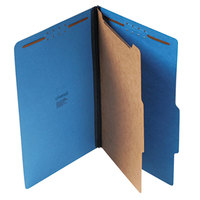 Universal UNV10211 Legal Size Classification Folder - 4-Section with 2/5 Cut Right of Center Tab, Cobalt Blue - 10/Box