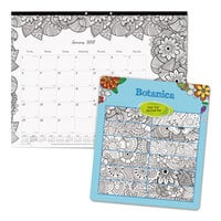 Blueline C2917311 DoodlePlan 22 inch x 17 inch Botanical Monthly January 2019 - December 2019 Desk Pad Calendar with Coloring Pages