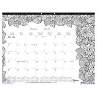 Blueline C2917311 DoodlePlan 22 inch x 17 inch Botanical Monthly January 2020 - December 2020 Desk Pad Calendar with Coloring Pages